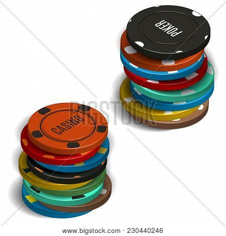 Stack Of Various Casino Chips, Isolated On White Background. 3d Isometric Style, Vector Illustration