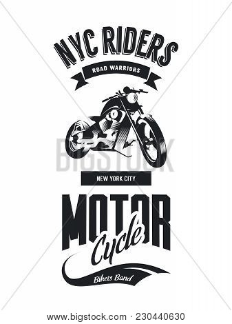 Vintage Bikers Club Vector T-shirt Logo Isolated On White Background. Premium Quality Motorcycle Log