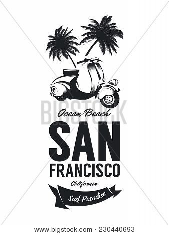 Vintage Moped Bikers Club Vector T-shirt Logo Isolated On White Background. Premium Quality Scooter