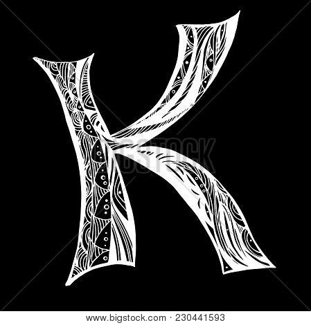 Elegant Letter K In The Style Of The Doodle. White Capital Letter On A Black Background. To Use Mono