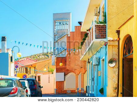 Street With Old Houses In Villasimius, Cagliary Province, South Sardinia In Italy