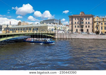 Saint- Petersburg, Russia - July 10, 2016: View Of The Embankment Of Fontanka River In The Historica