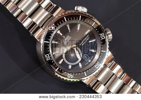 Rijeka, Croatia - November, 22, 2012: Close Up Photo Of Oris Diver Automatic Wrist Watch With Minute