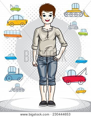 Young Teen Boy Cute Children Standing Wearing Fashionable Casual Clothes. Vector Kid Illustration. C