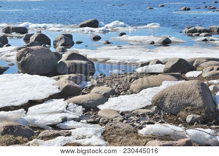 Melting Snow On The Shore Of The Spring Gulf