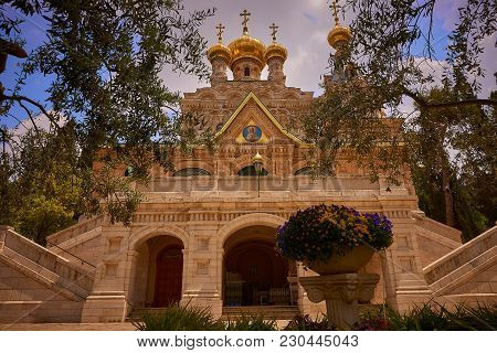 Jerusalem, Israel - April 15, 2017: Church Of Mary Magdalene On The Mount Of Olives.