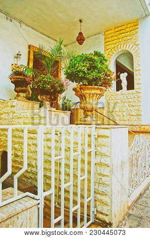Mgarr, Malta - April 6, 2014: Green Plants At The House Stairs In Mgarr, On Malta Island