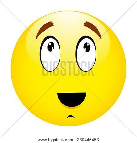 Thinking Emoticon Yellow Smiley On White Backround