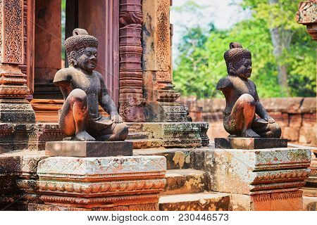 Statues At Banteay Srei Temple Complex, Siem Reap, Cambodia.