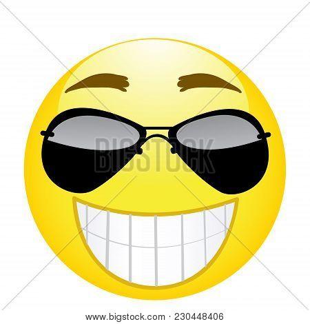 Happy Emoji. Strong Emotion. Fbi Agent Emoticon. Vector Illustration Smile Icon.on White Background
