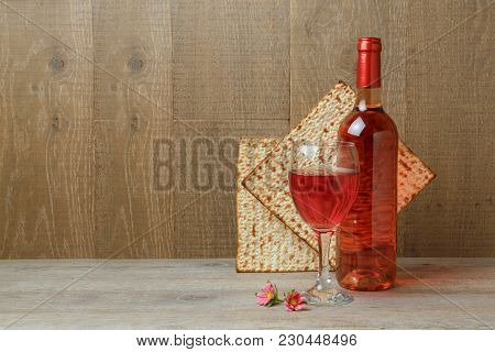Jewish Holiday Passover Background With Wine And Matzo