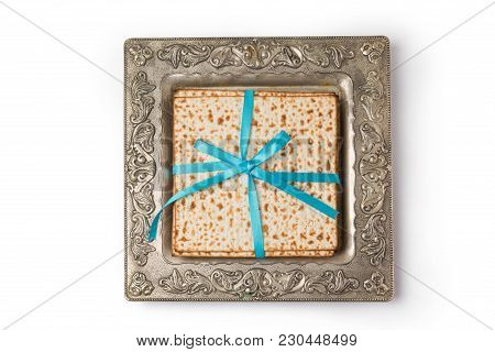 Matzo In Vintage Plate Isolated On White Background