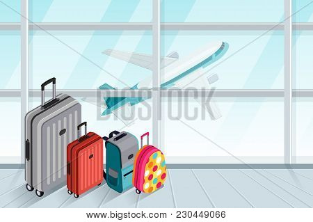 Multicolor Luggage, Suitcase, Bags Near The Airport Terminal Window. Vector 3D Isometric Illustratio