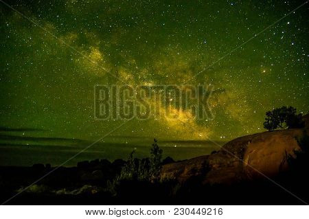 Beautiful Milky Way Shot At Arches National Park, Utah Usa. Astronomy Site Utah Low Light Pollution