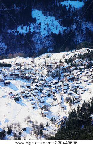 Aerial View Of Wengen Village In Bernese Oberland In Switzerland.