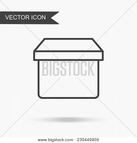 Modern And Simple Vector Illustration Box Icon. Flat Image With Thin Lines For Application, Website,