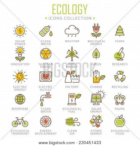 Collection Of Ecology Thin Line Icons. Vector Eps 8