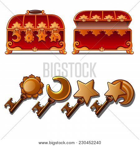 Two Red Chest With Four Locks And Keys. Vector Illustration.
