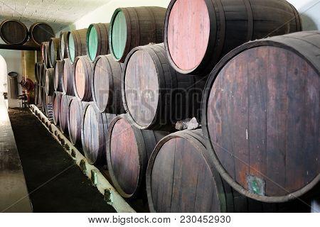 Wooden Barrels Of Wine - Malvasia In A Wine Cellar, Lanzarote, Canary Island, Spain.