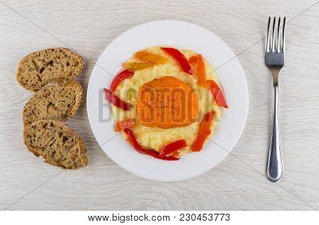 Vegetable Cutlet From Carrot With Mashed Potato And Lecho In Plate, Pieces Of Bread, Fork On Wooden