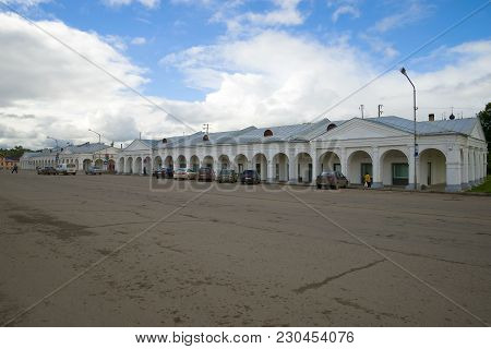 Galich, Russia - September 16, 2016: View Of The Old Buildings Of Shopping Malls In The Central City