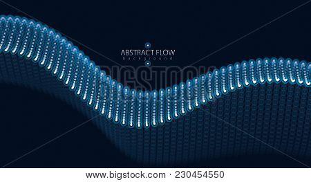 3d Particles Mesh Array Wave, Sound Flowing. Blurred Round Lights Vector Effect Illustration. 3d Fut