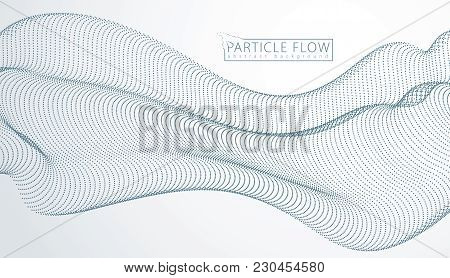 Array Of Particles Flowing, Dynamic Sound Wave. 3d Vector Illustration. Mesh Of Blurred Dots, Beauti