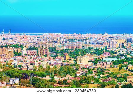 Scenery With Cityscape And Landscape Of Palermo, Sicily, Italy. Mediterranean Sea On The Background