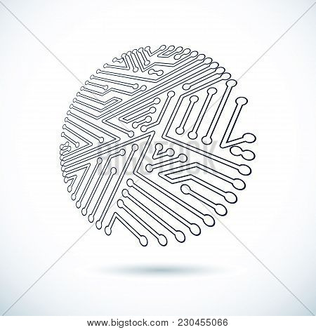 Vector Abstract Technology Illustration With Circular Circuit Board. High Tech Digital Scheme Of Ele