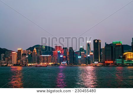 Hong Kong, Hong Kong - March 6, 2016: Skyline And Victoria Harbor Of Hong Kong. View From Kowloon On