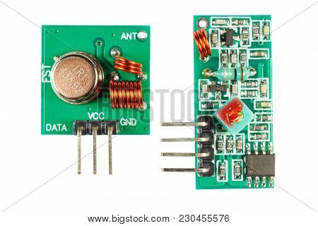 Set Of Transmitter And Reciever Of Digital Signal Printed Circuit Board Isolated On White Background