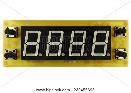 Printed Circuit Board Of Electronic Timer Clock With Led Indicator And Control Buttons Isolated On W