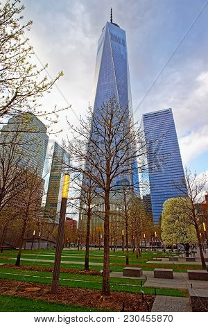 New York, Usa - April 24, 2015: World Trade Center With Freedom Tower In Financial Center In Lower M