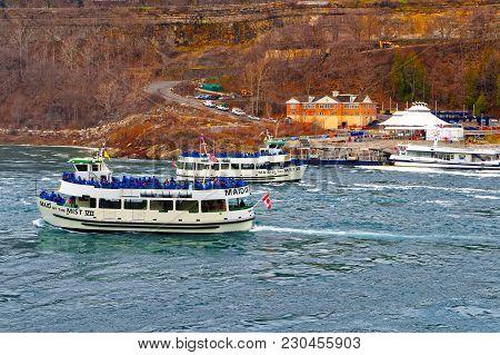 Niagara Falls, Usa - May 1, 2015: Two Ferries In The Niagara River. A View From American Side. Niaga