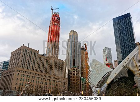New York, Usa - April 24, 2015: Part Of Wing In Wtc Transportation Hub And Skyscrapers Of Financial
