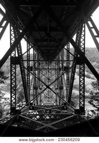Black And White Photo Of The Underside Of The Bridge At Deception Pass Washington State Pacific Nort