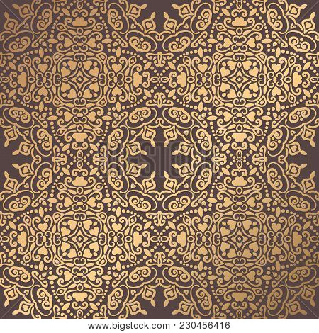 Vector Arabesque Pattern. Seamless Flourish Background With Golden Floral Elements. Intricate Ornate