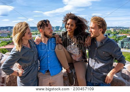 Young Middle Eastern Girl With Her European Friends As Diversity Friendship And Togetherness Concept