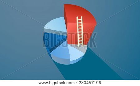 Business Infographics Circle Segments In The Form Of Cake With A Ladder From Lowest To Highest
