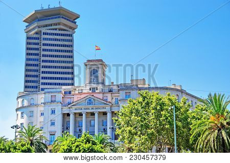 Government Building Naval Sector Of Catalonia In Barcelona, Spain, In Summer