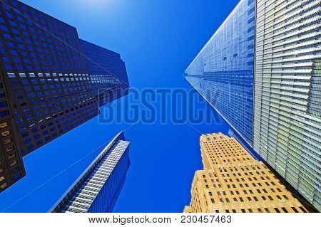 Skyscrapers Rising Up To Sky On Lower Manhattan Including The Freedom Tower, New York City, The Usa