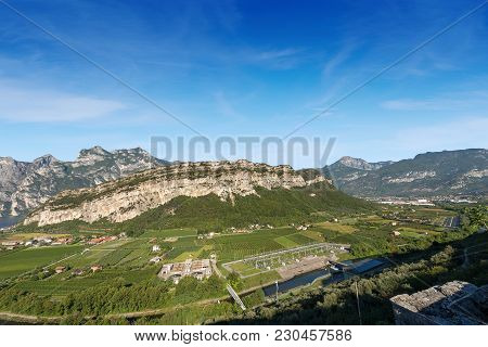 Aerial View Of The Sarca Valley (valle Del Sarca) With The River And The Garda Lake Near Torbole, Tr