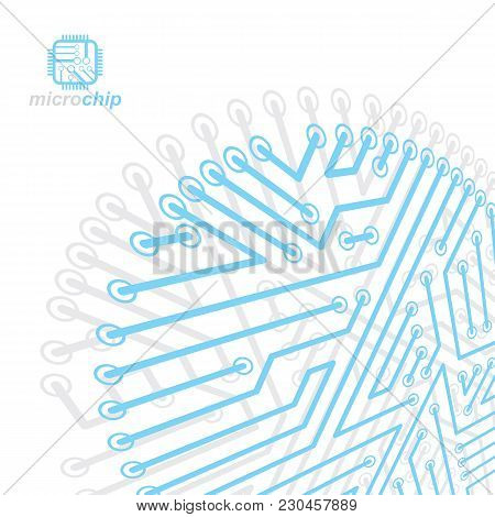 Vector Abstract Technology Illustration With Circuit Board. High Tech Digital Scheme Of Electronic D