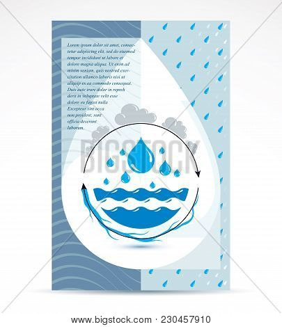 Water Treatment Company Advertising Flyer. Global Water Circulation Conceptual Design, Vector Planet