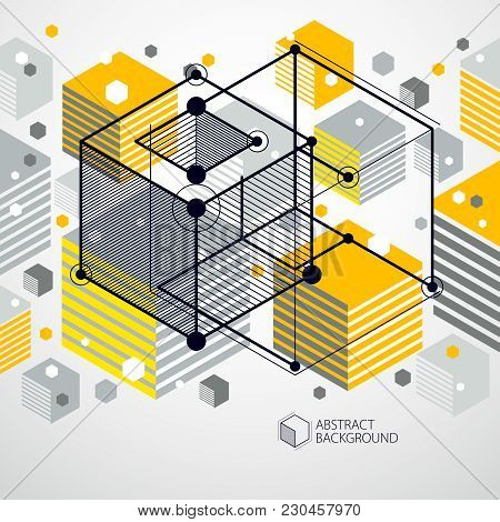 Vector Of Abstract Geometric 3d Cube Pattern And Yellow Background. Layout Of Cubes, Hexagons, Squar