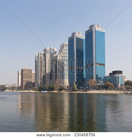 Cairo, Egypt - March 10, 2018: City View From River Nile Overlooking Head Office Of National Bank Of