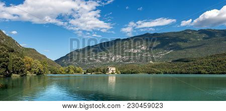 Lake Toblino (lago Di Toblino) With A Medieval Castle, Small Alpine Lake In Trentino Alto Adige, Ita