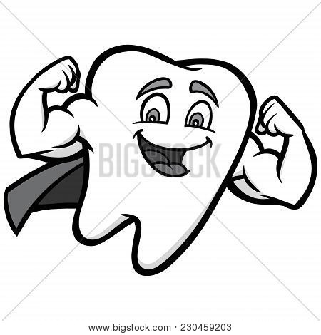 Super Tooth Illustration - A Vector Cartoon Illustration Of A Superhero Tooth.