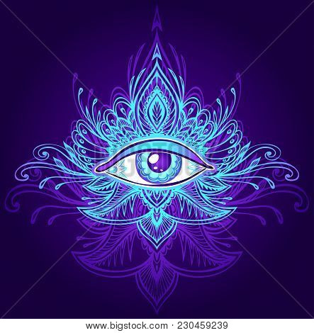 Abstract Symbol Of All-seeing Eye In Boho Indian Asian Ethno  Style Blue Lilac On Dark For Decoratio