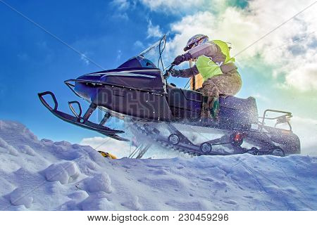 Extreme Sport For Lifestyle Design. Winter Extreme Sport Snowmobile Racing. Sport Winter Background